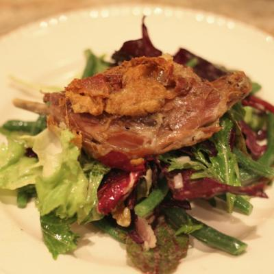 Duck Confit with Baby Greens and Walnut Vinaigrette