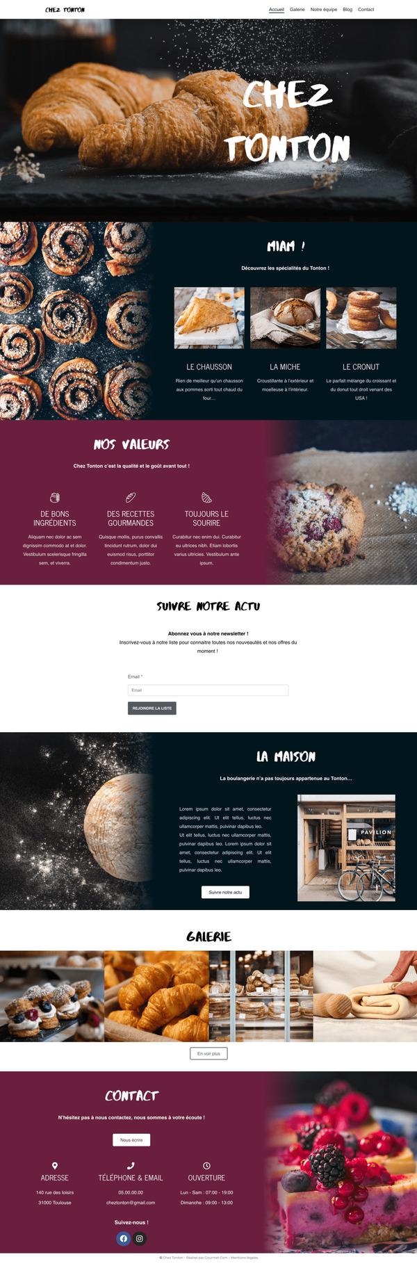 Maquette de création de site internet pour une boulangerie pour le package Premium