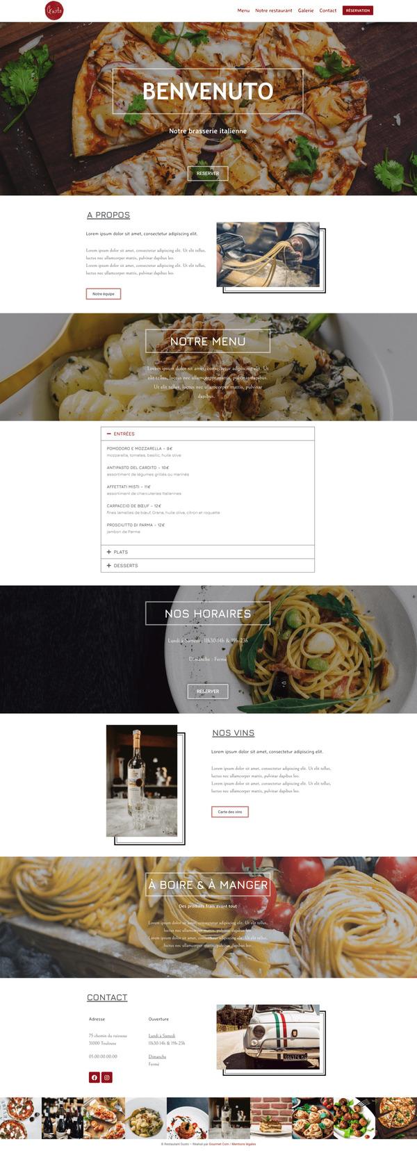 Maquette de création de site internet pour un restaurant avec le package Premium