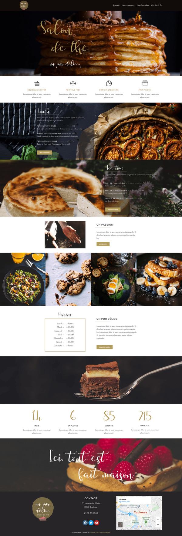 Maquette de création de site internet pour un restaurant avec le package Pro