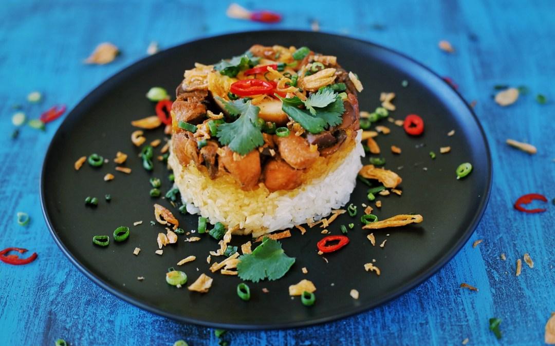 Steamed Chicken and Mushroom Rice