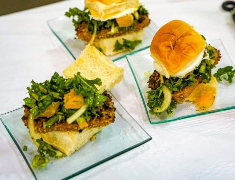 Pecan Crusted SPAM Sliders with Citrus Kale Slaw