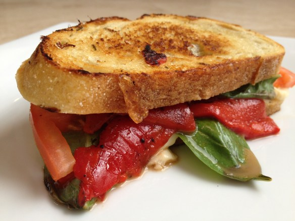 Mozzarella and Roasted Red Pepper Grilled Cheese