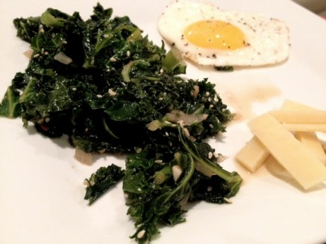 Sauteed Kale and Sunny Side-up Egg