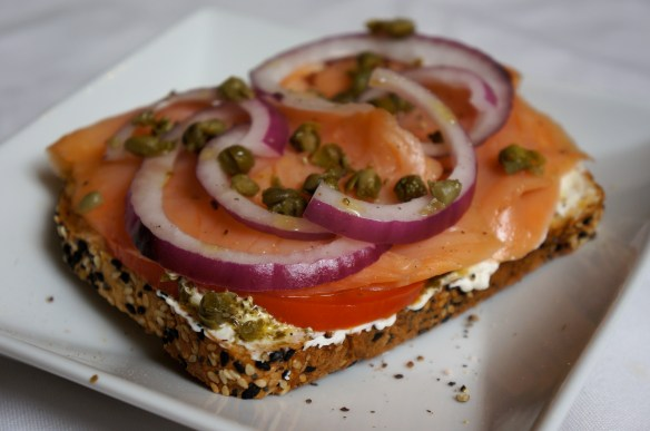 Lox and Toast with Pesto