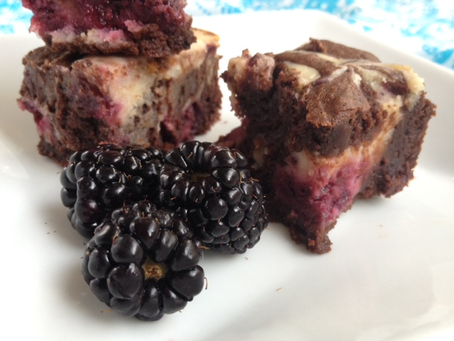 Blackberry Cheesecake Fudge Brownies