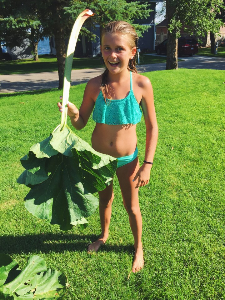 This rhubarb leaf was the size of Liz! We didn't use it in the salad, but I just adore this picture.