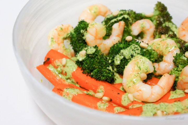 Gourmet Gab Honey Dill Dressing with Shrimp and Veggies