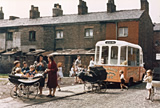 Ice cream van on terraced street - Manchester 1965