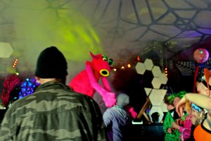 puppets in dance tent