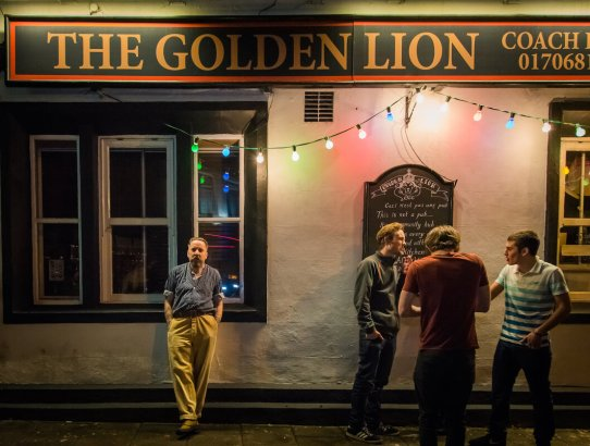 Andrew Weatherall outside the Golden Lion Todmorden