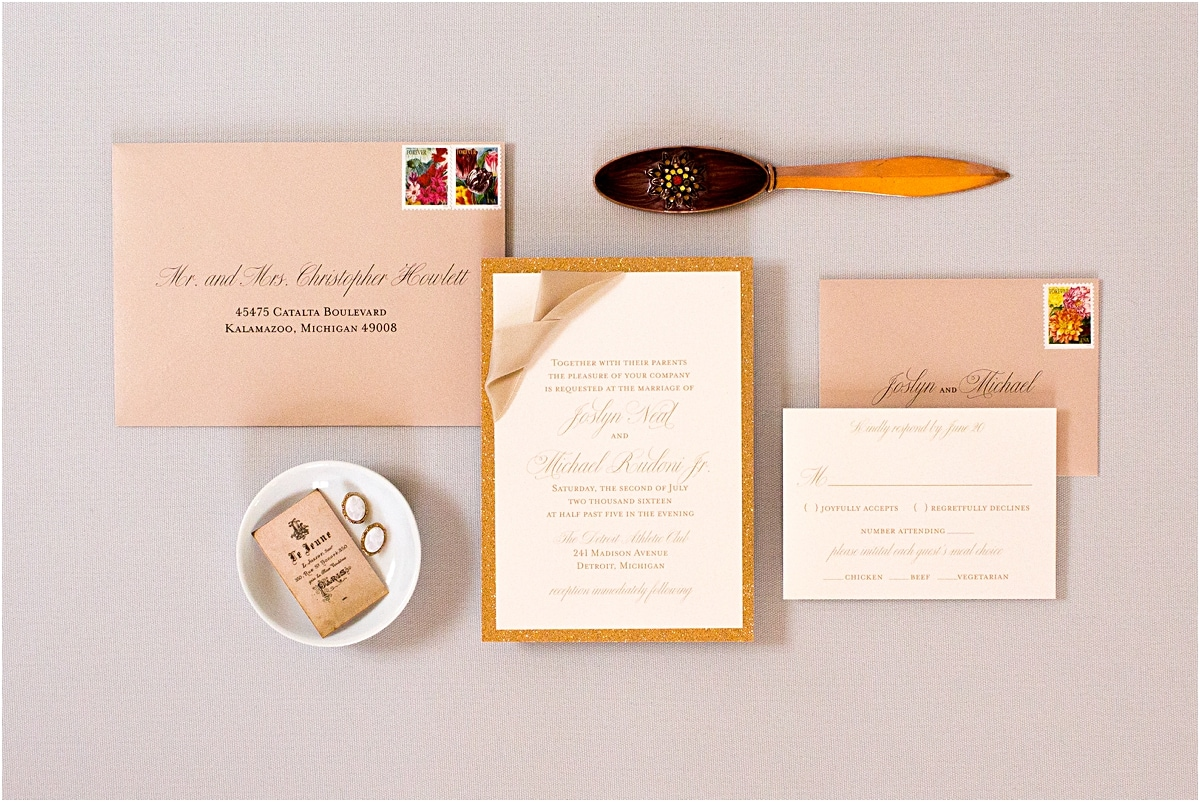rose gold invitations