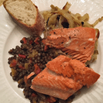 Seared Salmon with Fennel and Balsamic Lentils