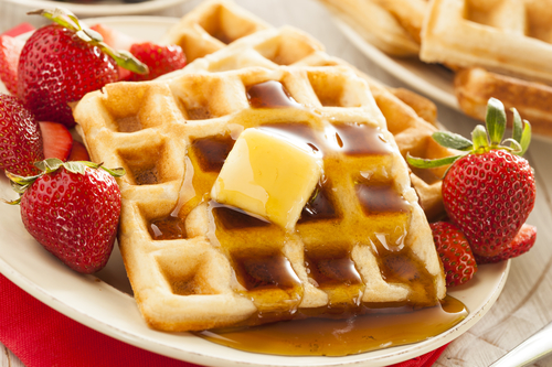 Maple syrup with waffles