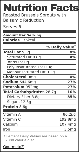 Nutrition label for Roasted Brussels Sprouts with Balsamic Reduction