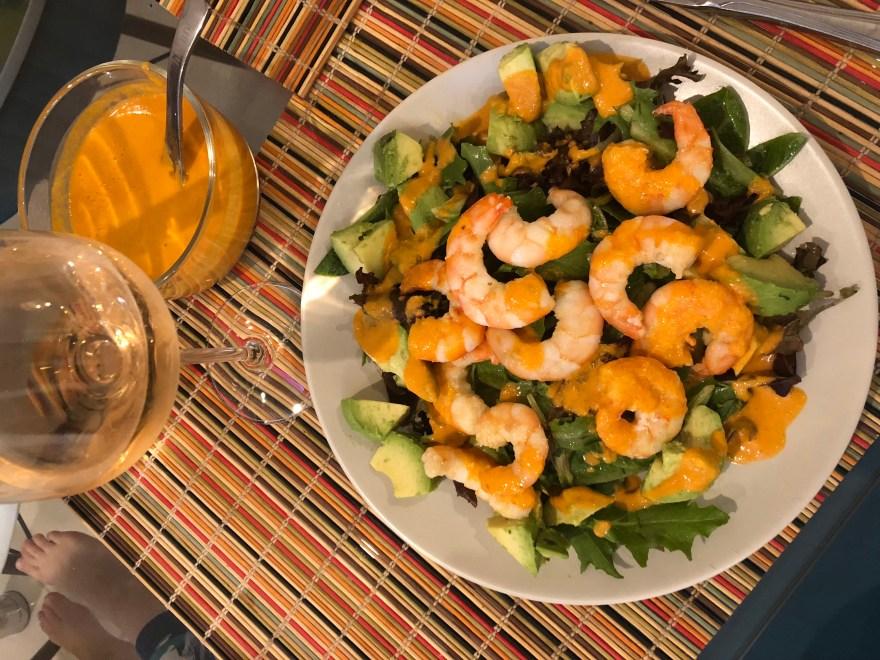 Shrimp Salad with Red Goddess Dressing