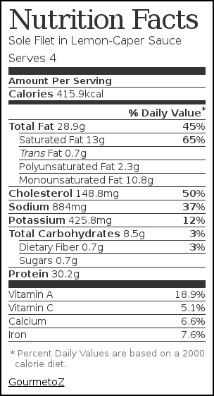Nutrition label for Sole Filet in Lemon-Caper Sauce