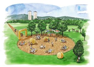 星野リゾート トマム(北海道勇払郡占冠村) 牧場をテーマにした屋外ラウンジ「牧場ラウンジ」が登場 牧草ロールや牧草ソファが設えられた大自然で過ごせる空間 実施期間:2018年7月1日〜8月31日