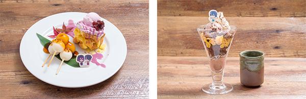 ▲紫原と氷室のみたらし団子プレート(左)/▲花宮の抹茶チョコレートパフェ(右)