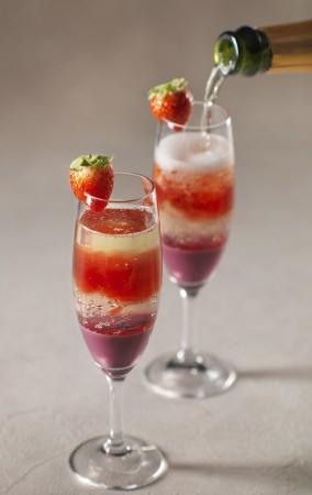 苺のジュレスパークリングカクテル
