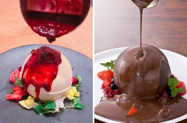 「映える」と話題! ラスベリーソースの「ホワイトチョコドーム」を数量限定販売 【ESOLA新宿】究極のバレンタイン&ホワイトデースイーツ「チョコドーム」に季節メニュー登場