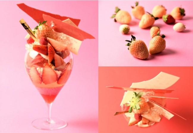 奈良いちごラボのブランド白苺「淡雪」とルビーチョコを使った苺づくしのプレミアムパフェ 『メランジュフリュイHIBIYA ~淡雪姫~』3月1日(金)~期間限定発売