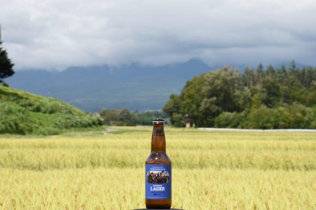 地元・北杜市のブランド米「梨北米(りほくまい)」を使った定番ビール「清里ラガー」