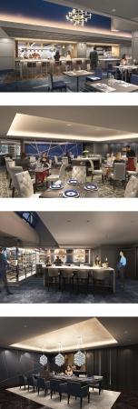上からDINING-A,DINING-B、BAR、PRIVATE DINING  イメージ