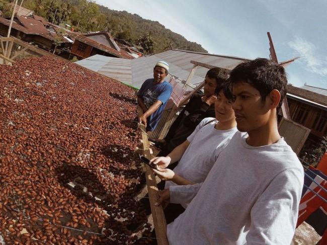 農園でカカオ豆を乾燥をさせる様子