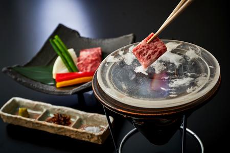 ホテルグランヴィア大阪 19階日本料理「大阪 浮橋」大阪産黒毛和牛「なにわ黒牛」の水晶焼き