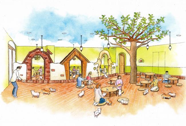 """オープン半年で来店者数3万人突破のマイクロブタさんとふれあえるカフェ""""mipig cafe""""が2019年11月に原宿店(2号店)をオープン"""