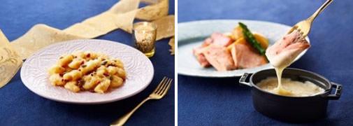 左から)海老のマヨネーズ和え、鉄板焼のチーズソース(ディナー限定)