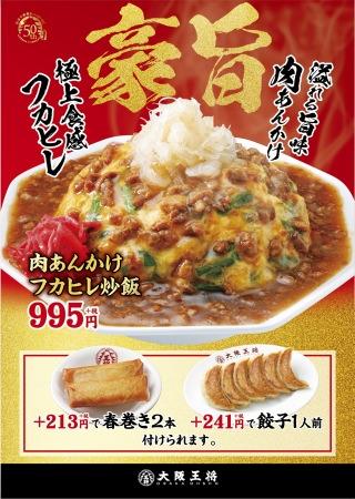 極上食感のフカヒレで豪快な旨さ! 「肉あんかけフカヒレ炒飯」が11月22日(金)より期間限定で販売開始!