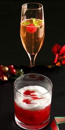 クリスマススペシャルカクテル 上:キールアンペリアル、下:クリスマスフレーズ(ノンアルコール
