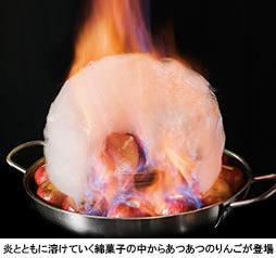 """あつあつりんご×冷たいアイスのコラボ! 炎のフランベで仕上げる、""""りんご鍋""""スイーツ 2020年2月29日(土)まで グルメバイキング「オリンピア」にて提供中"""