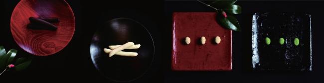 心よせ イメージ  左から柚子(ダーク)、柚子(ホワイト)、黒豆きな、黒豆抹茶