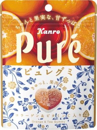 人気のピュレグミに「オレンジ」×「紅茶」の香り広がる新フレーバー登場オレンジと赤色のツートーンカラーのおしゃれグミ カンロ 「ピュレグミオレンジティ」