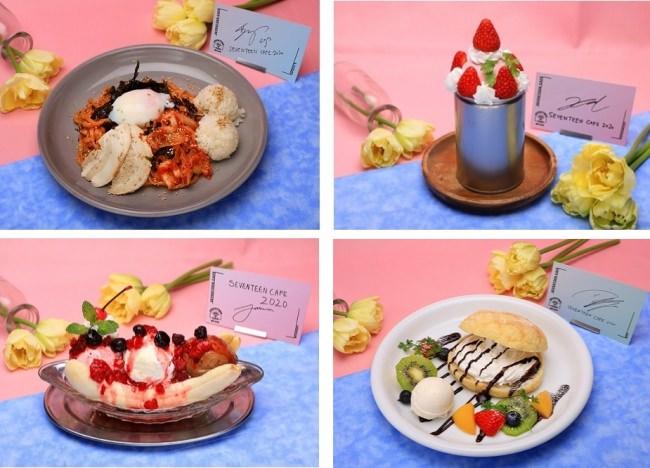 S.COUPS:プルダックボックムミョン、JEONGHAN:いちごアイスクリームパフェ、JOSHUA:Banana split sundae、JUN:メロンパン