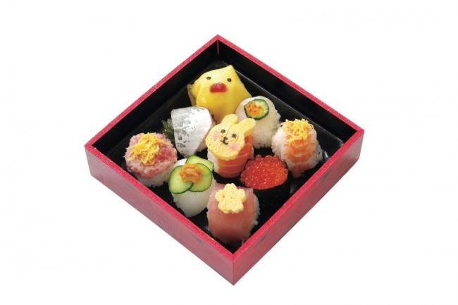 ウオキ「手鞠寿司」780円 ウサギやヒヨコなどをモチーフに可愛くアレンジされた一口サイズのお寿司です。