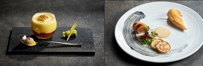 左:若松区松浦ファームのゴールドラッシュを使った冷たいクリームスープ コンソメのジュレとコーヒーのグラス/右:フランス産コクレの真空調理 ソース・シュプレーム