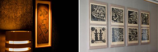 (左)北大路魯山人が手彫りしたといわれる「やどや」の看板 (右)棟方志功の板画