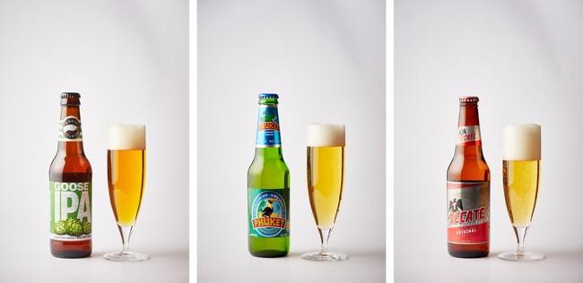左から「グースアイランドIPA」(アメリカ)、「プーケットビール」(タイ)、「テカテビール」(メキシコ)