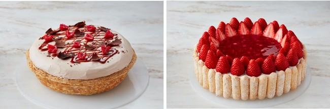 左)苺のチョコレートパイ、右)あまおうと木苺のシャルロット