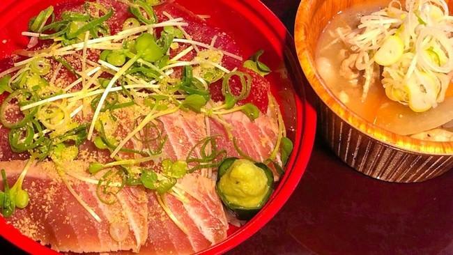 生本マグロ丼 ~二色の漬け仕立て~ 豚汁セット:¥1,000