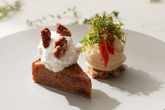▲ヴィーガンキャロットケーキとココナッツアイスクリーム