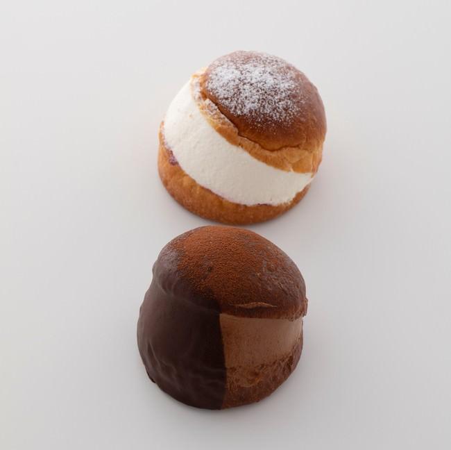 丸いフォルムがかわいいマリトッツォはクリームとショコラの2種を販売