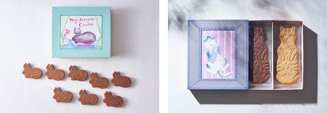 (左)第1弾「My favorite chocolate Mint cookie」(右)「LetterBOX cat cookie」