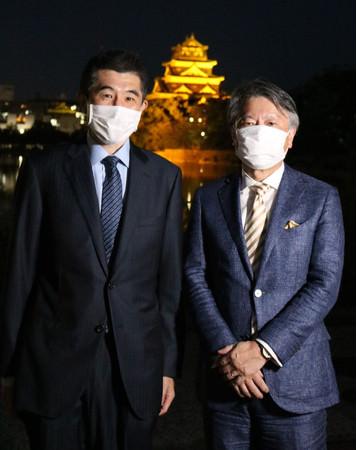 左:広島大学病院小児科 岡田賢教授、右:村上農園代表取締役社長 村上清貴