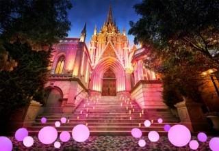 通常は金色に輝く夜の大聖堂が、ピンク色にライトアップされる(画像はイメージ)