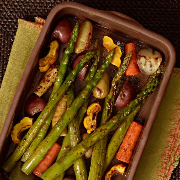 Asparagus with Roasted Rainbow Vegetables